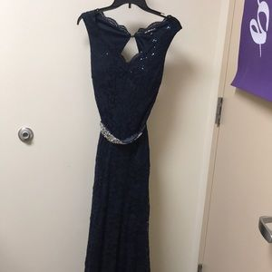 Lace navy prom dress